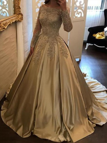 Ball Gown Long Sleeves Applique Satin Off-the-Shoulder Sweep/Brush Train Dresses
