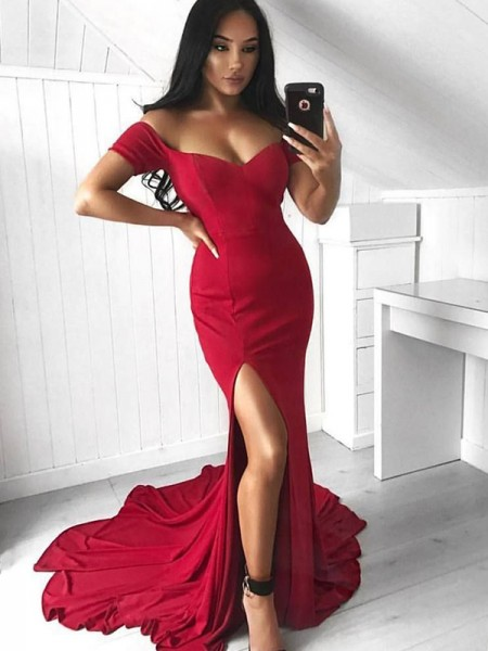 Trumpet/Mermaid Sleeveless Ruffles Spandex Off-the-Shoulder Court Train Dresses