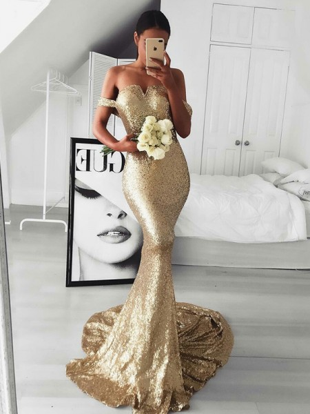 Trumpet/Mermaid Sleeveless Ruffles Sequins Off-the-Shoulder Sweep/Brush Train Dresses