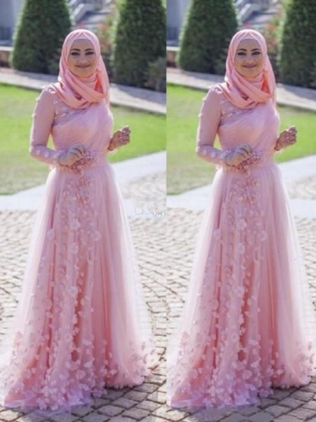 A-Line/Princess Long Sleeves Applique Tulle Scoop Sweep/Brush Train Muslim Dresses