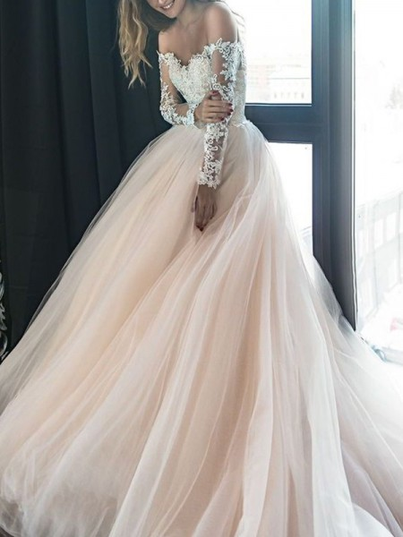 A-Line/Princess Long Sleeves Off-the-Shoulder Tulle Applique Court Train Wedding Dresses