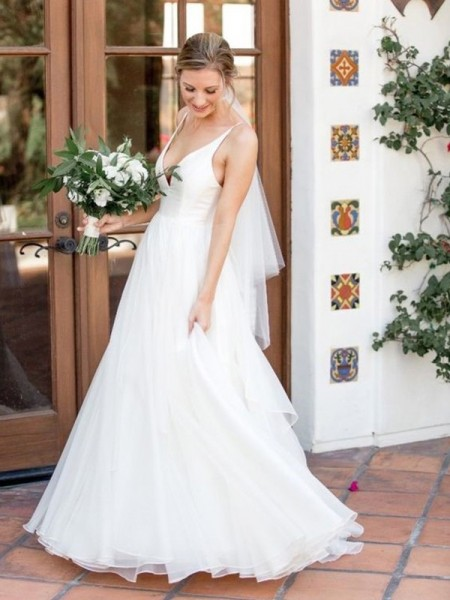 A-Line/Princess Sleeveless V-neck Tulle Ruffles Sweep/Brush Train Wedding Dresses