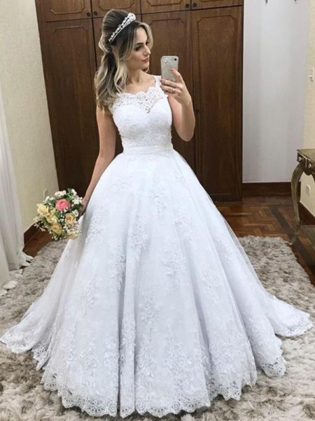 Ball Gown Sleeveless Scoop Satin Sweep/Brush Train Wedding Dresses