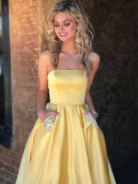 A-Line/Princess Sleeveless Strapless Satin Beading Sweep/Brush Train Dresses