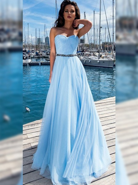 A-Line/Princess Sleeveless Sweetheart Sequins Ruffles Floor-Length Dresses