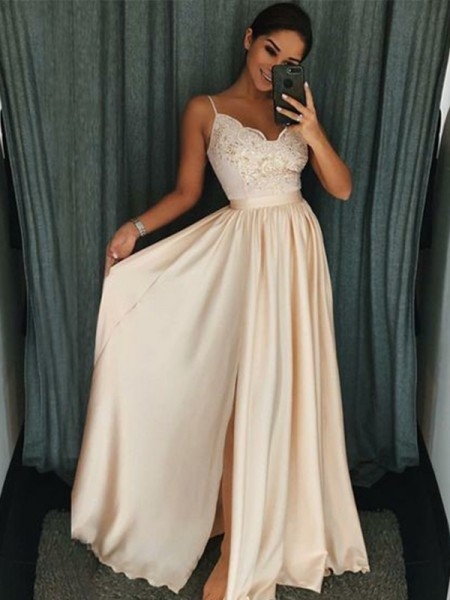 A-Line/Princess Sleeveless Spaghetti Straps Silk like Satin Applique Floor-Length Dresses