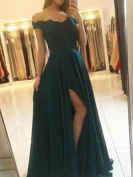 A-Line/Princess Sleeveless Off-the-Shoulder Chiffon Beading Floor-Length Dresses