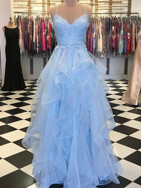 A-Line/Princess Sleeveless Floor-Length Spaghetti Straps Applique Organza Dresses