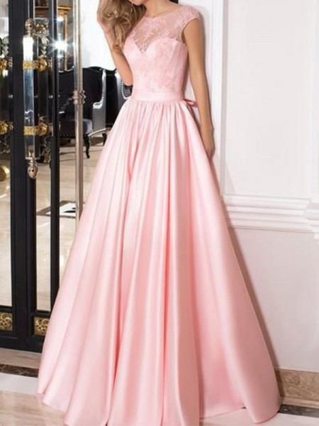 A-Line/Princess Sleeveless Floor-Length Sheer Neck Lace Satin Dresses