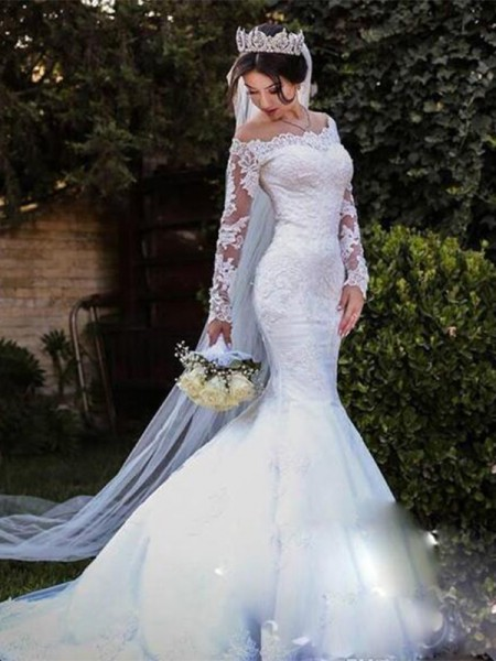Trumpet/Mermaid Long Sleeves Sweep/Brush Train Off-the-Shoulder Lace Tulle Wedding Dresses