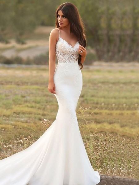 Trumpet/Mermaid Sleeveless Sweep/Brush Train Spaghetti Straps Applique Satin Wedding Dresses