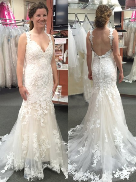 Trumpet/Mermaid Sleeveless Sweep/Brush Train Straps Applique Tulle Wedding Dresses