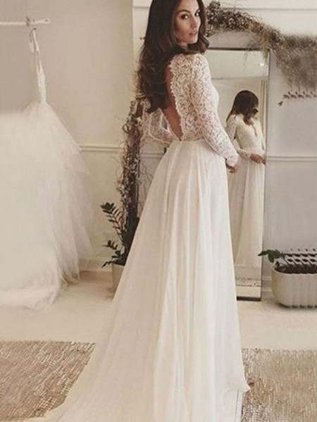 A-Line/Princess Long Sleeves Sweep/Brush Train Scoop Lace Chiffon Wedding Dresses