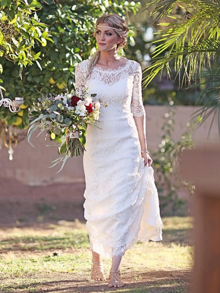 Sheath/Column 1/2 Sleeves Sweep/Brush Train Bateau Lace Lace Wedding Dresses