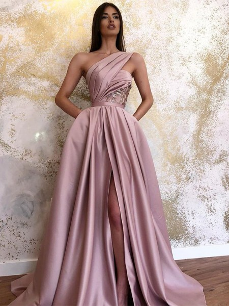 A-Line/Princess Sweep/Brush Train One-Shoulder Sleeveless Ruched Satin Dresses