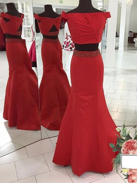 Trumpet/Mermaid Off-the-Shoulder Sleeveless Satin Ruched Sweep/Brush Train Dresses