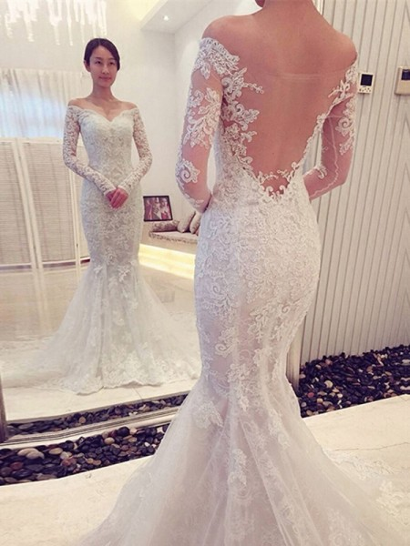 Trumpet/Mermaid Off-the-Shoulder Long Sleeves Lace Chapel Train Wedding Dresses