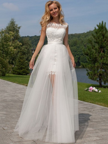 Sheath/Column Scoop Sleeveless Tulle Floor-Length Wedding Dresses