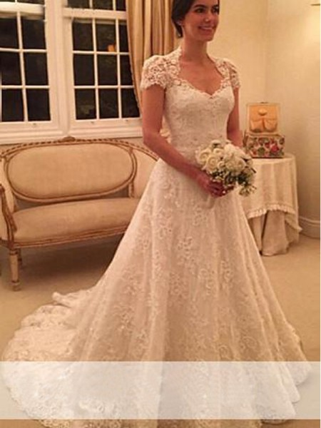 A-Line/Princess Sweetheart Short Sleeves Lace Court Train Wedding Dresses