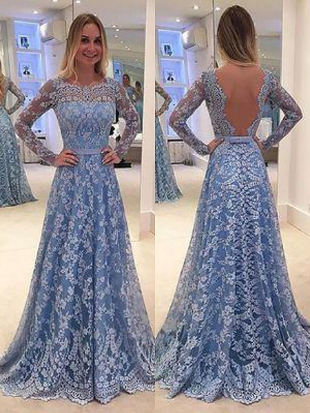 A-Line/Princess Bateau Long Sleeves Lace Ruffles Floor-Length Dresses