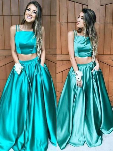 A-Line/Princess Square Sleeveless Satin Ruffles Floor-Length Dresses