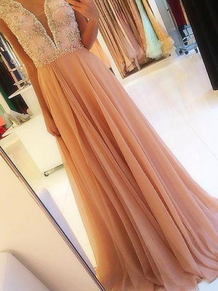 A-Line/Princess V-neck Sleeveless Chiffon Beading Sweep/Brush Train Dresses