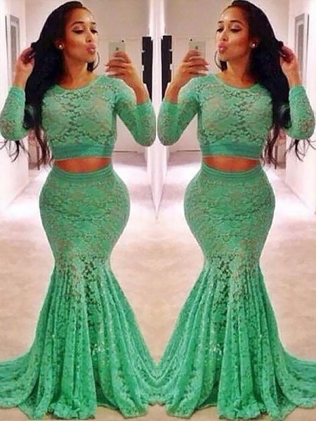 Trumpet/Mermaid Scoop Long Sleeves Lace Ruffles Sweep/Brush Train Dresses