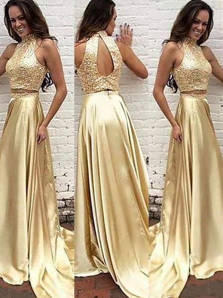 A-Line/Princess High Neck Sleeveless Satin Beading Sweep/Brush Train Dresses