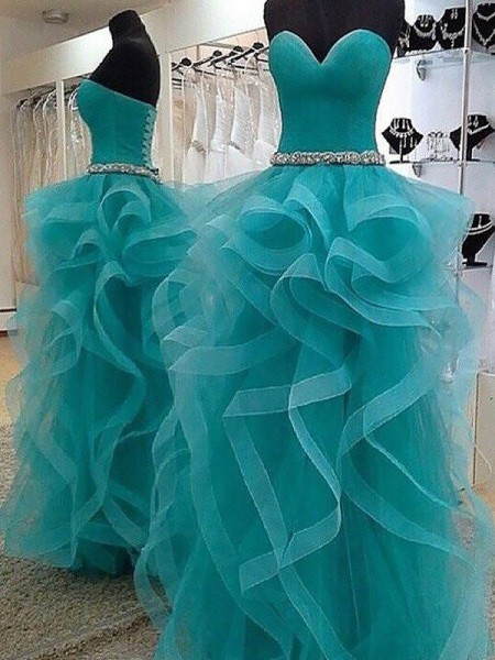 Ball Gown Sweetheart Sleeveless Organza Beading Floor-Length Dresses
