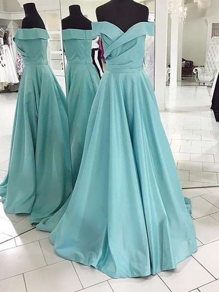 A-Line/Princess Off-the-Shoulder Sleeveless Satin Ruched Sweep/Brush Train Dresses