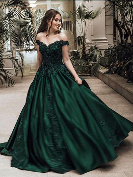 Ball Gown Off-the-Shoulder Sleeveless Satin Floor-Length Dresses