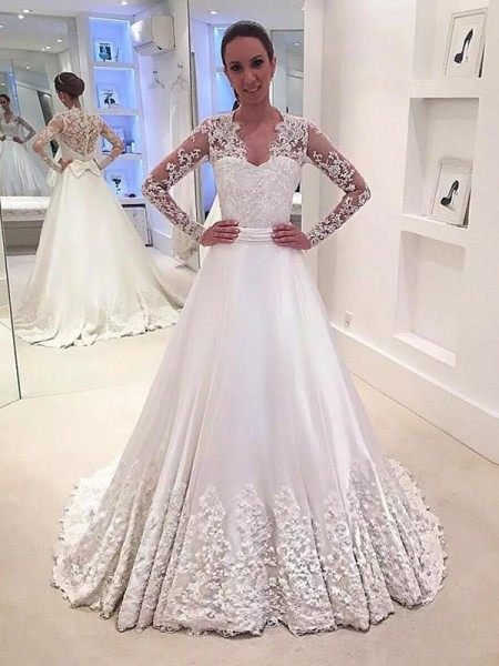 A-Line/Princess Long Sleeves V-neck Satin Sweep/Brush Train Wedding Dresses