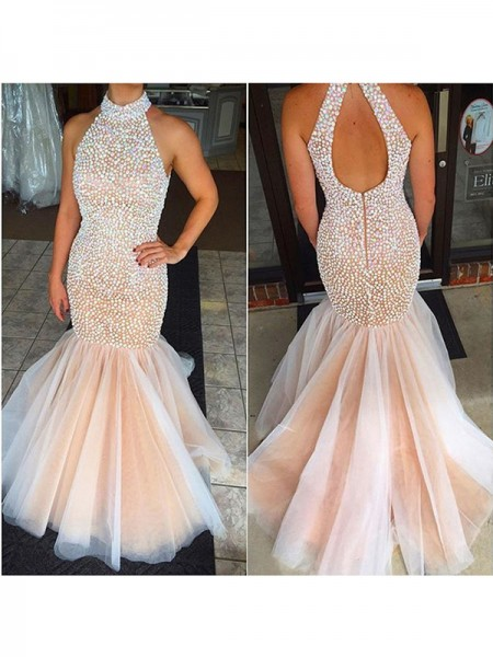 Trumpet/Mermaid Sleeveless Halter Tulle Beading Floor-Length Dresses