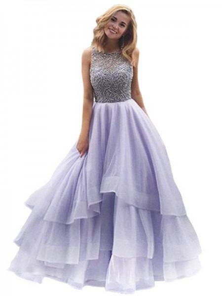 Ball Gown Sleeveless Scoop Organza Beading Floor-Length Dresses