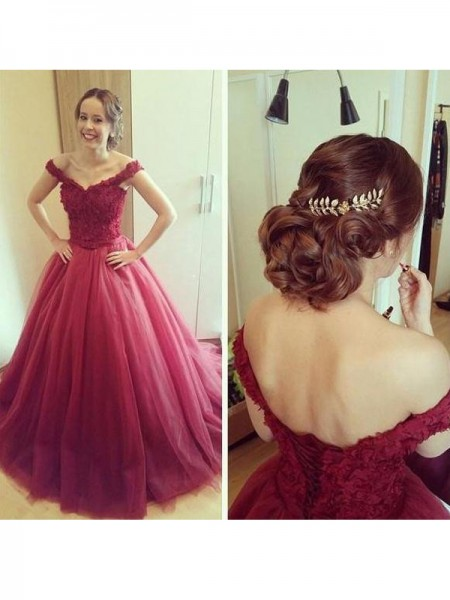 Ball Gown Sleeveless Off-the-Shoulder Tulle Applique Floor-Length Dresses