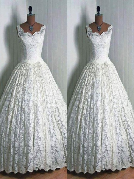 Ball Gown Sleeveless Sweetheart Lace Floor-Length Wedding Dresses