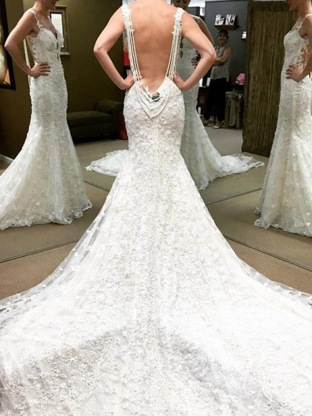 Ball Gown Short Sleeves Off-the-Shoulder Lace Cathedral Train Wedding Dresses