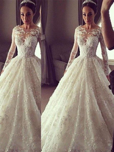 Ball Gown Long Sleeves Scoop Lace Court Train Wedding Dresses