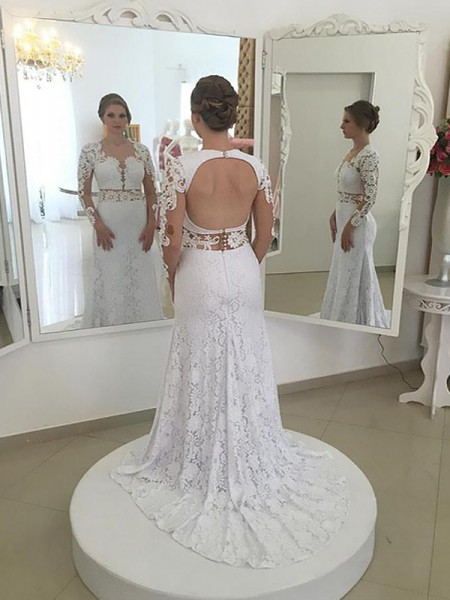 Sheath/Column Long Sleeves Scoop Lace Sweep/Brush Train Wedding Dresses