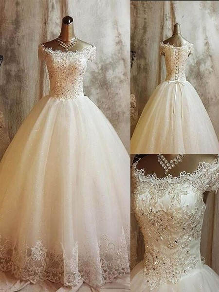 Ball Gown Sleeveless Off-the-Shoulder Tulle Applique Sweep/Brush Train Wedding Dresses
