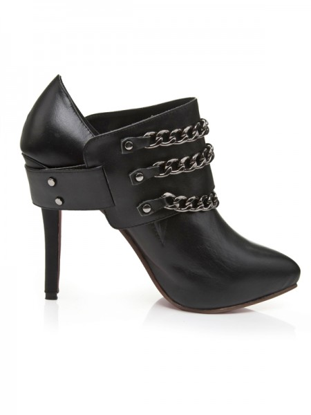 Women's Cattlehide Leather Stiletto Heel Platform Closed Toe With Chain Platforms Shoes