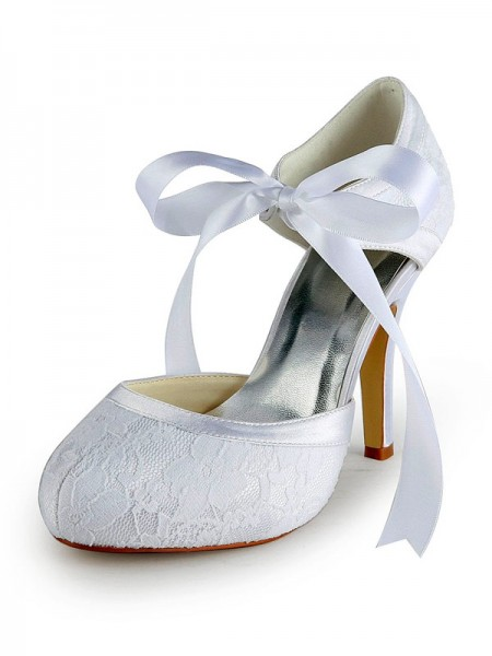 Women's Satin Stiletto Heel Pumps with Lace White Wedding Shoes
