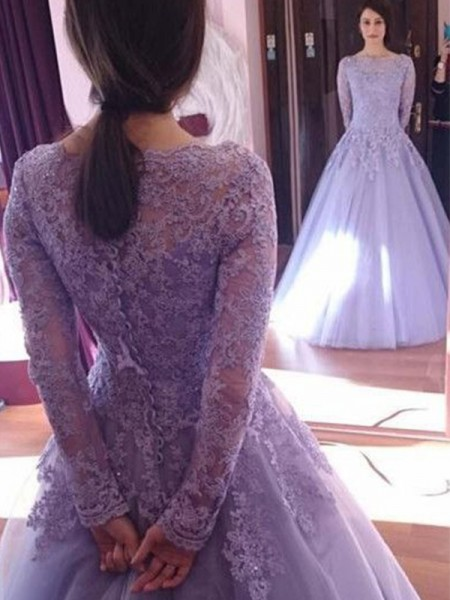 Ball Gown Floor-Length Tulle Jewel Long Sleeves Dresses