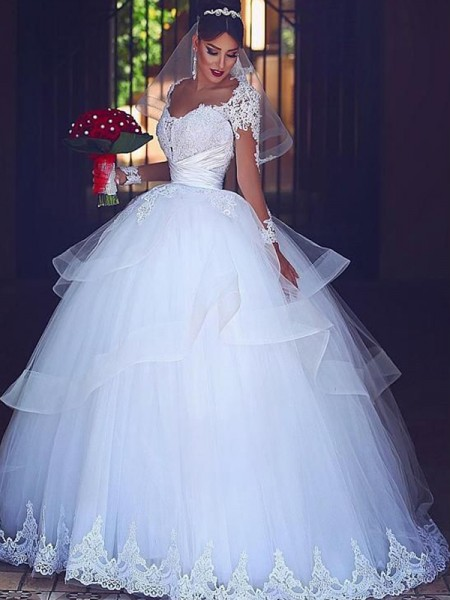 Ball Gown Floor-Length Tulle Sweetheart Long Sleeves Wedding Dresses