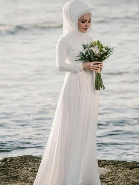 A-Line/Princess Floor-Length Chiffon Jewel Applique Long Sleeves Wedding Dresses