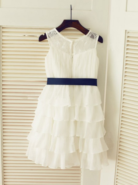A-Line/Princess Sleeveless Scoop Chiffon Tea-Length Ruched Flower Girl Dresses