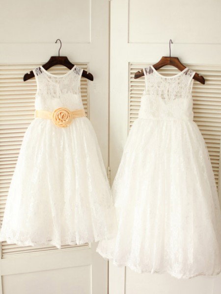 A-Line/Princess Sleeveless Scoop Lace Ankle-Length Sash/Ribbon/Belt Flower Girl Dresses