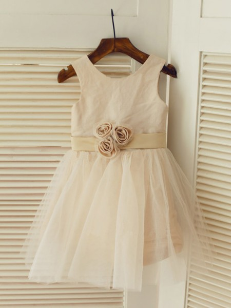 A-Line/Princess Sleeveless Scoop Tulle Tea-Length Sash/Ribbon/Belt Flower Girl Dresses
