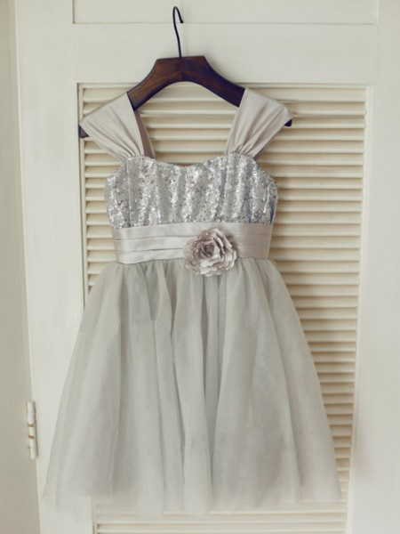 A-Line/Princess Sleeveless Straps Tulle Tea-Length Bowknot Flower Girl Dresses