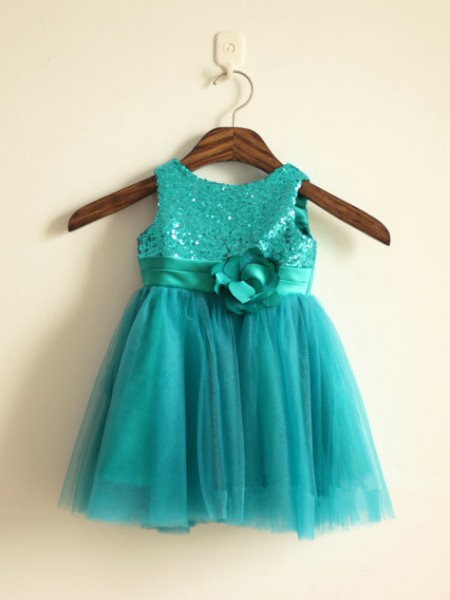 A-Line/Princess Sleeveless Scoop Tulle Ankle-Length Sequin Flower Girl Dresses